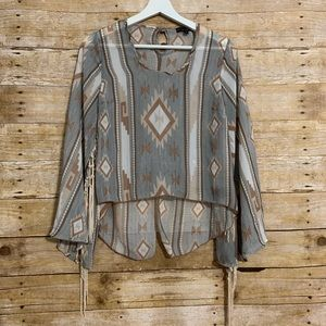 See you Monday large bell sleeve Aztec print top